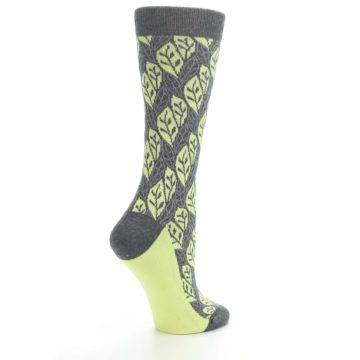 Image of Charcoal Lime Leaf Pattern Women's Dress Socks (side-1-23)