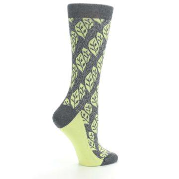 Image of Charcoal Lime Leaf Pattern Women's Dress Socks (side-1-24)