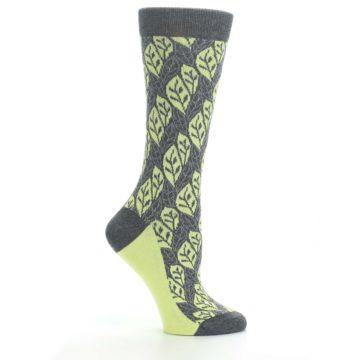 Image of Charcoal Lime Leaf Pattern Women's Dress Socks (side-1-25)