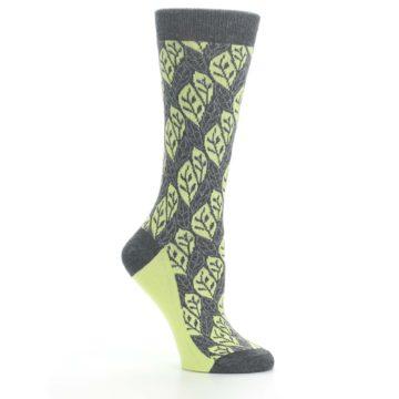 Image of Charcoal Lime Leaf Pattern Women's Dress Socks (side-1-26)