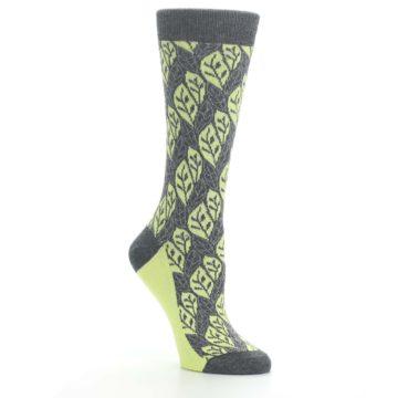 Image of Charcoal Lime Leaf Pattern Women's Dress Socks (side-1-27)