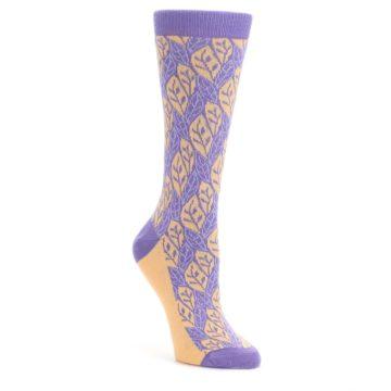 25656-Purple-Orange-Leaf-Pattern-Womens-Dress-Socks-Statement-Sockwear
