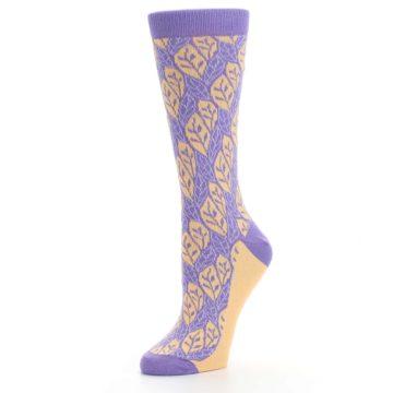 Image of Purple Orange Leaf Pattern Women's Dress Socks (side-2-09)