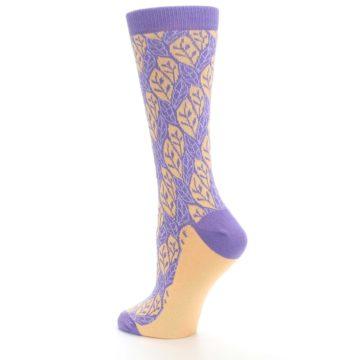 Image of Purple Orange Leaf Pattern Women's Dress Socks (side-2-back-14)