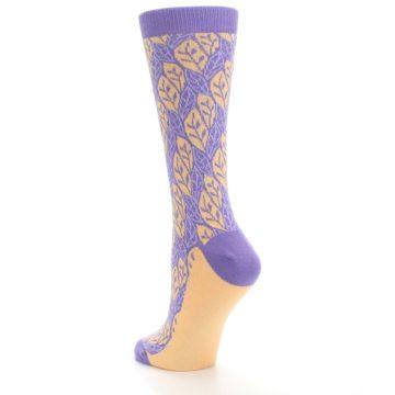 Image of Purple Orange Leaf Pattern Women's Dress Socks (side-2-back-15)