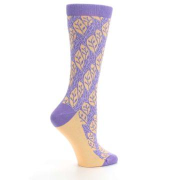 Image of Purple Orange Leaf Pattern Women's Dress Socks (side-1-24)