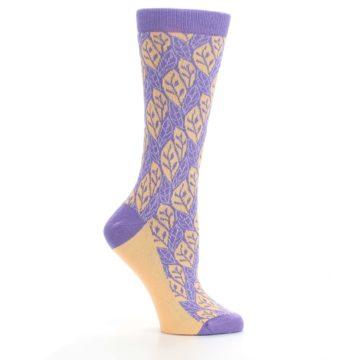 Image of Purple Orange Leaf Pattern Women's Dress Socks (side-1-25)