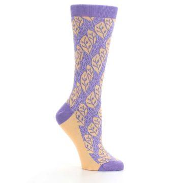 Image of Purple Orange Leaf Pattern Women's Dress Socks (side-1-26)