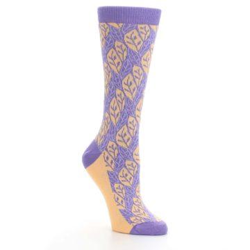 Image of Purple Orange Leaf Pattern Women's Dress Socks (side-1-27)
