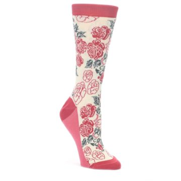Cream-Red-Rose-Flower-Womens-Dress-Socks-Statement-Sockwear