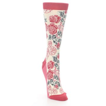 Image of Cream Red Rose Flower Women's Dress Socks (side-1-front-03)