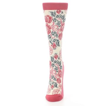 Image of Cream Red Rose Flower Women's Dress Socks (side-2-front-06)