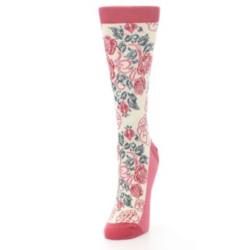 Image of Cream Red Rose Flower Women's Dress Socks (side-2-front-07)