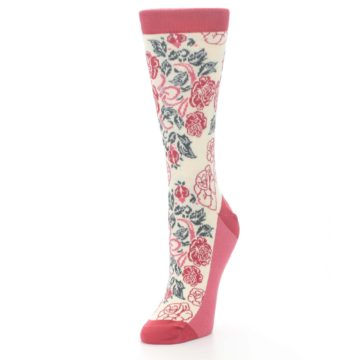 Image of Cream Red Rose Flower Women's Dress Socks (side-2-front-08)