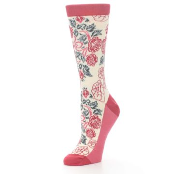 Image of Cream Red Rose Flower Women's Dress Socks (side-2-09)