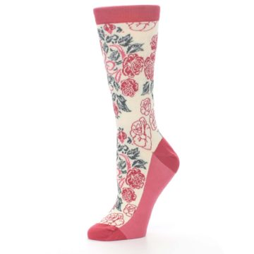 Image of Cream Red Rose Flower Women's Dress Socks (side-2-10)
