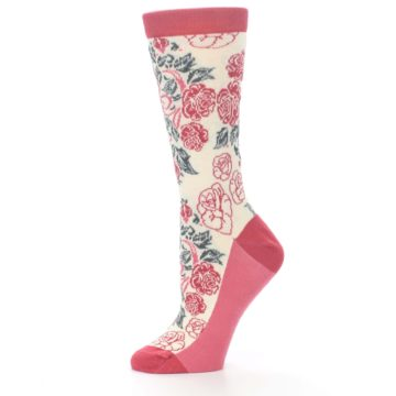 Image of Cream Red Rose Flower Women's Dress Socks (side-2-11)