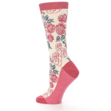 Image of Cream Red Rose Flower Women's Dress Socks (side-2-13)