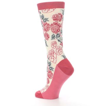 Image of Cream Red Rose Flower Women's Dress Socks (side-2-back-14)