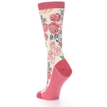Image of Cream Red Rose Flower Women's Dress Socks (side-2-back-15)