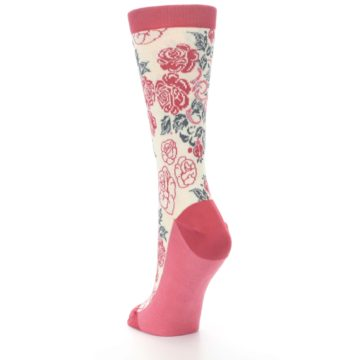 Image of Cream Red Rose Flower Women's Dress Socks (side-2-back-16)