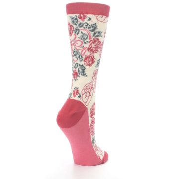Image of Cream Red Rose Flower Women's Dress Socks (side-1-back-22)