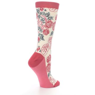 Image of Cream Red Rose Flower Women's Dress Socks (side-1-23)