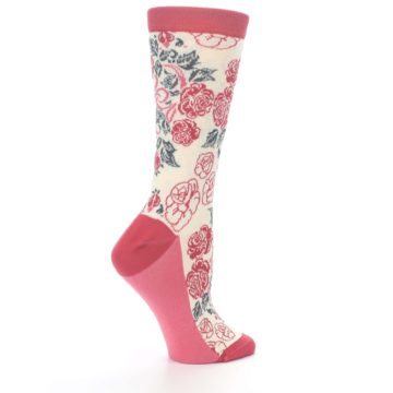 Image of Cream Red Rose Flower Women's Dress Socks (side-1-24)