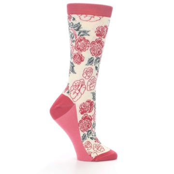 Image of Cream Red Rose Flower Women's Dress Socks (side-1-25)