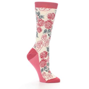 Image of Cream Red Rose Flower Women's Dress Socks (side-1-26)