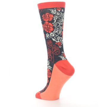 Image of Charcoal Red Rose Flower Women's Dress Socks (side-2-back-14)