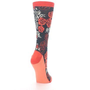 Image of Charcoal Red Rose Flower Women's Dress Socks (side-1-back-21)