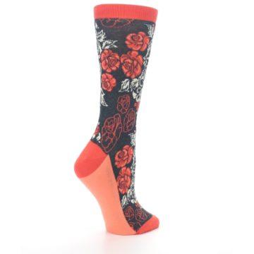 Image of Charcoal Red Rose Flower Women's Dress Socks (side-1-23)