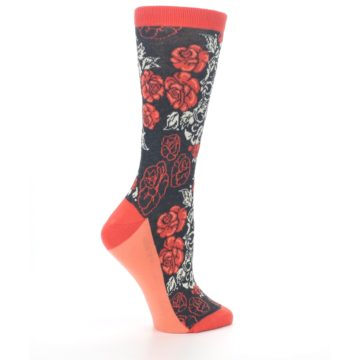Image of Charcoal Red Rose Flower Women's Dress Socks (side-1-24)