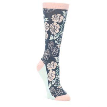 Pink-Slate-Blue-Rose-Flower-Womens-Dress-Socks-Statement-Sockwear