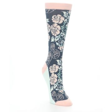 Image of Pink Slate Blue Rose Flower Women's Dress Socks (side-1-front-02)