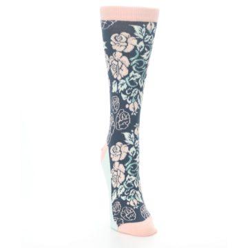 Image of Pink Slate Blue Rose Flower Women's Dress Socks (side-1-front-03)