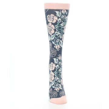 Image of Pink Slate Blue Rose Flower Women's Dress Socks (front-04)