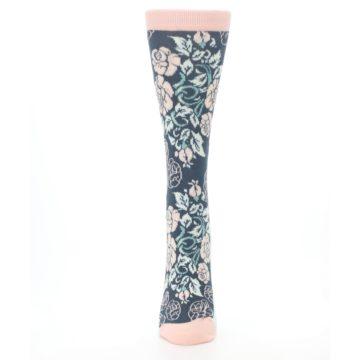 Image of Pink Slate Blue Rose Flower Women's Dress Socks (front-05)