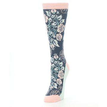 Image of Pink Slate Blue Rose Flower Women's Dress Socks (side-2-front-07)