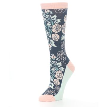 Image of Pink Slate Blue Rose Flower Women's Dress Socks (side-2-09)