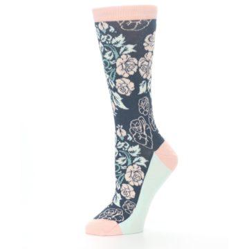 Image of Pink Slate Blue Rose Flower Women's Dress Socks (side-2-10)