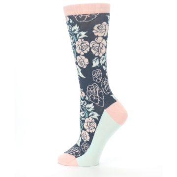Image of Pink Slate Blue Rose Flower Women's Dress Socks (side-2-12)