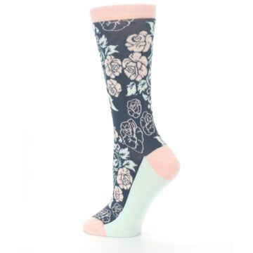 Image of Pink Slate Blue Rose Flower Women's Dress Socks (side-2-13)