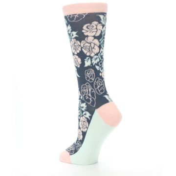 Image of Pink Slate Blue Rose Flower Women's Dress Socks (side-2-back-14)