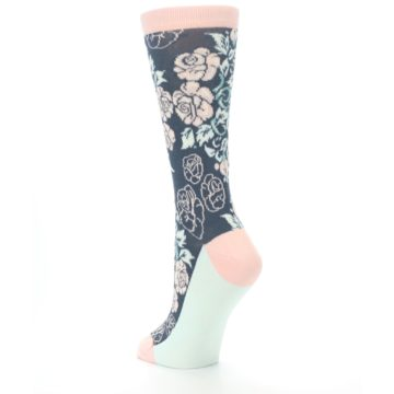Image of Pink Slate Blue Rose Flower Women's Dress Socks (side-2-back-15)
