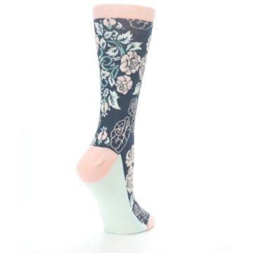 Image of Pink Slate Blue Rose Flower Women's Dress Socks (side-1-back-22)