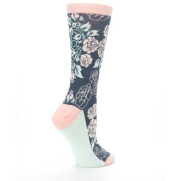 Image of Pink Slate Blue Rose Flower Women's Dress Socks (side-1-23)