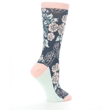 Image of Pink Slate Blue Rose Flower Women's Dress Socks (side-1-24)