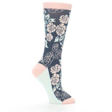 Image of Pink Slate Blue Rose Flower Women's Dress Socks (side-1-25)